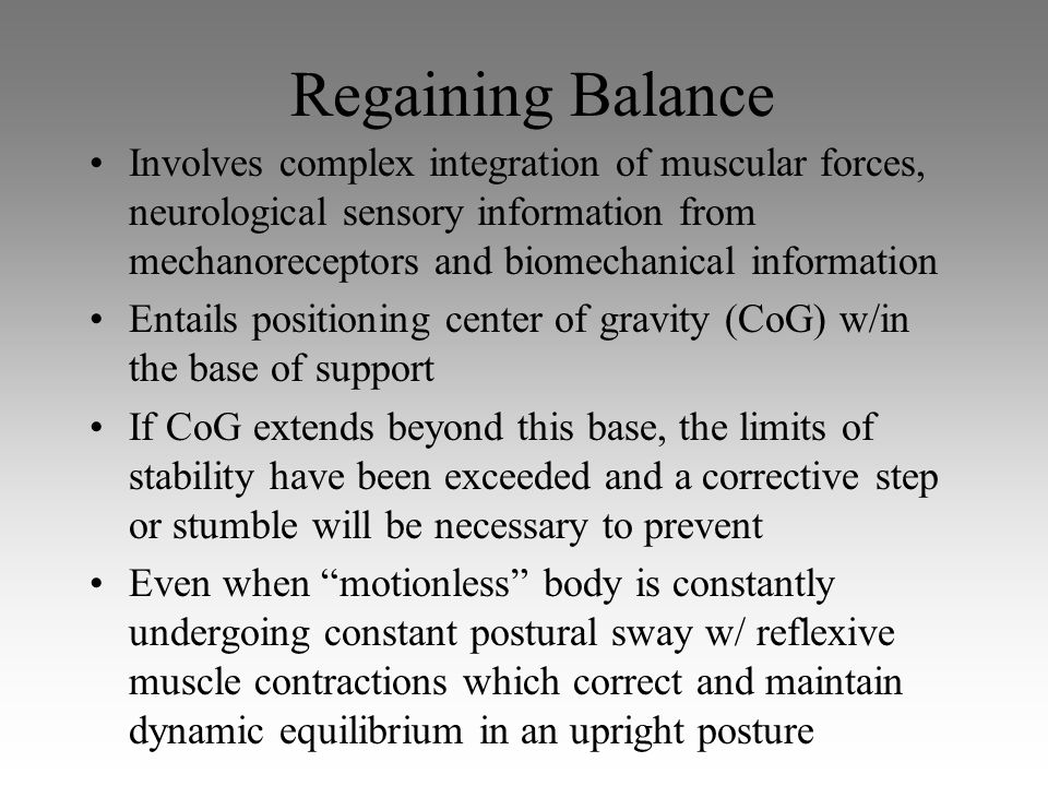 Regaining Balance