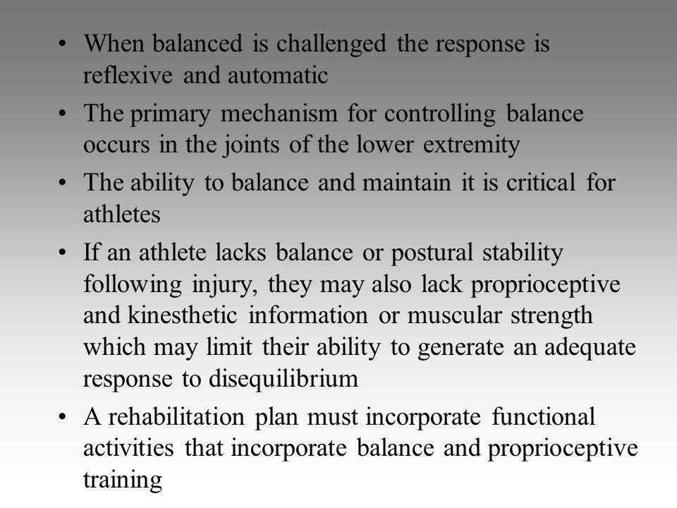 When balanced is challenged the response is reflexive and automatic