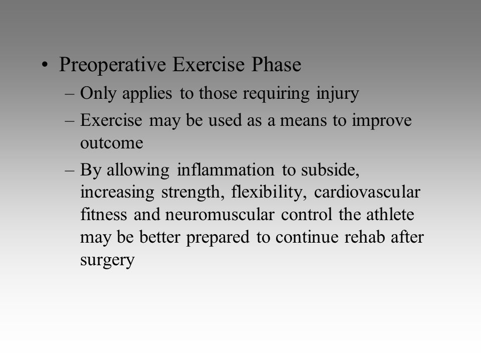 Preoperative Exercise Phase