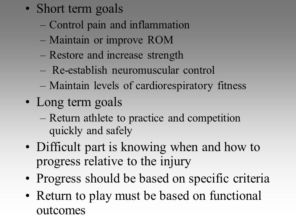 Progress should be based on specific criteria