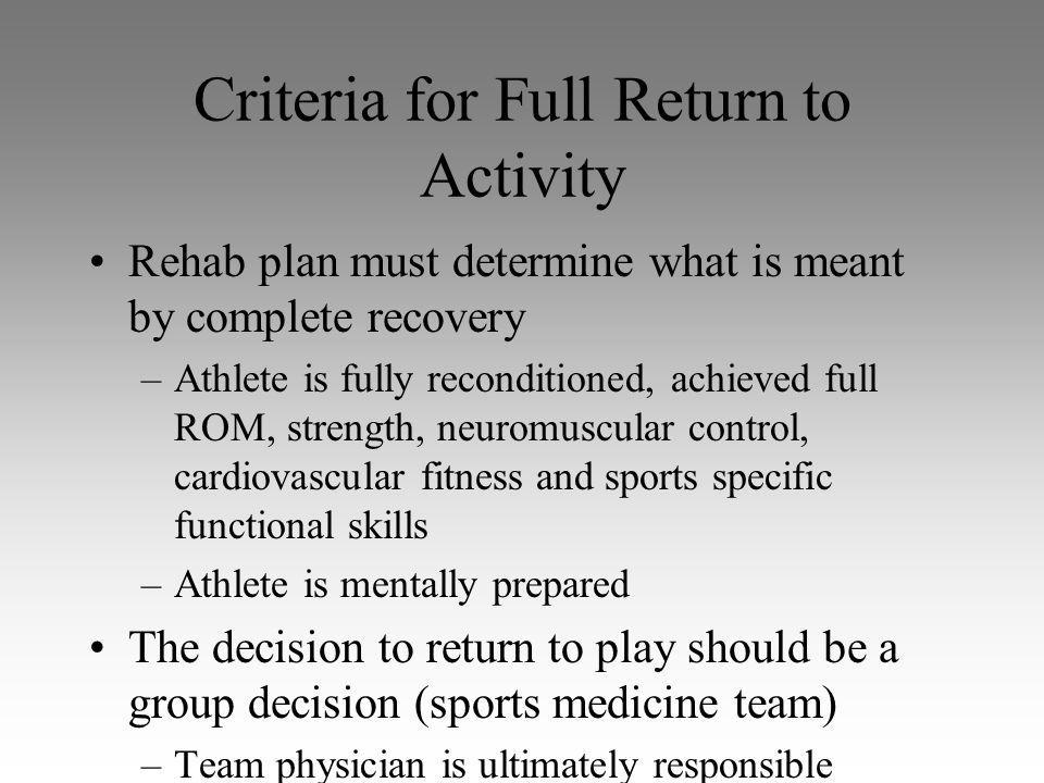 Criteria for Full Return to Activity