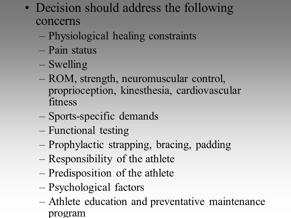 Decision should address the following concerns