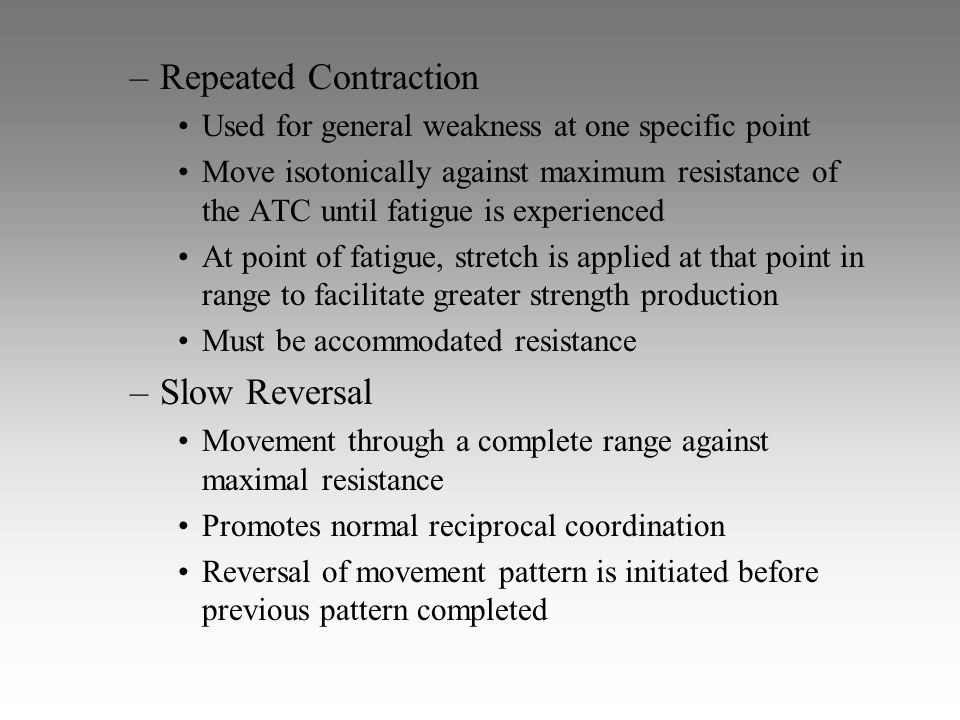 Repeated Contraction Slow Reversal