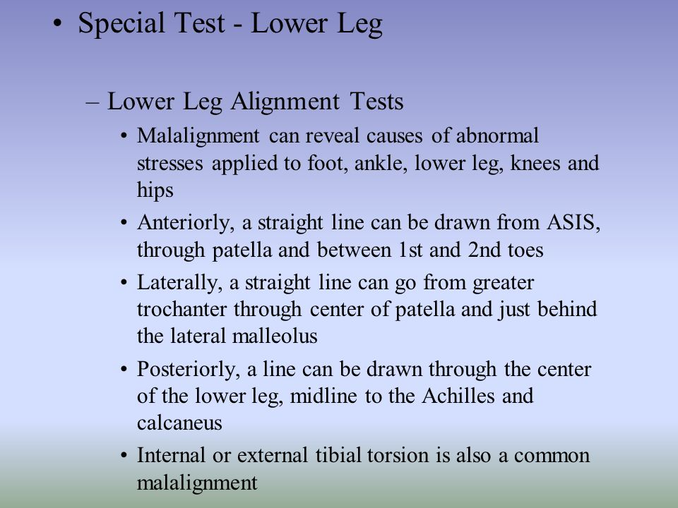 Special Test - Lower Leg
