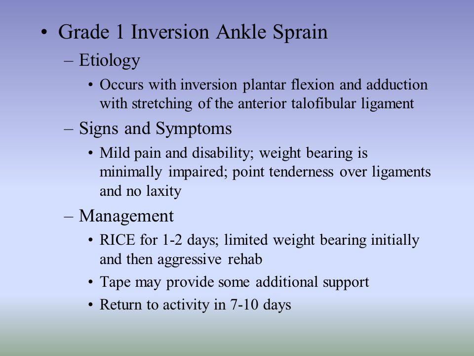 Grade 1 Inversion Ankle Sprain