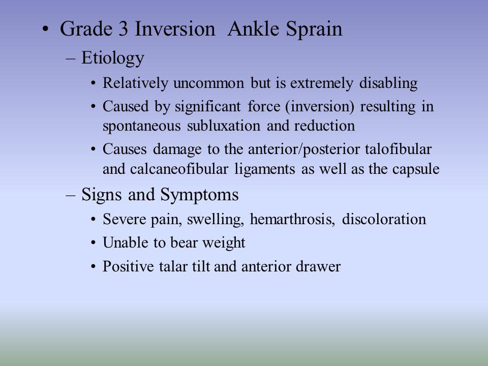 Grade 3 Inversion Ankle Sprain