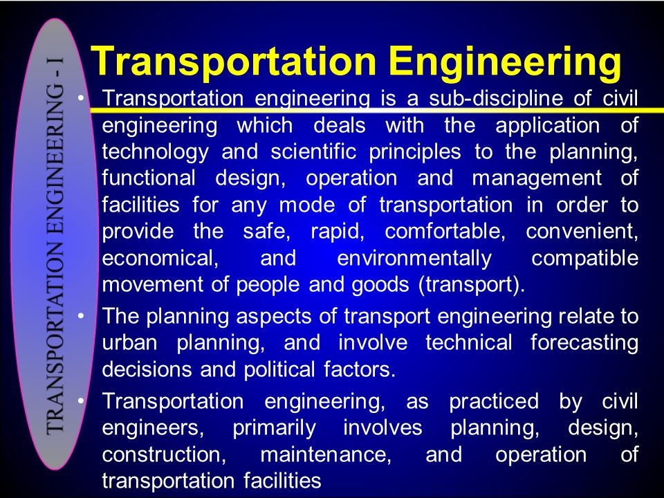 Transportation engineering i ppt video online download for Transportation engineering planning and design