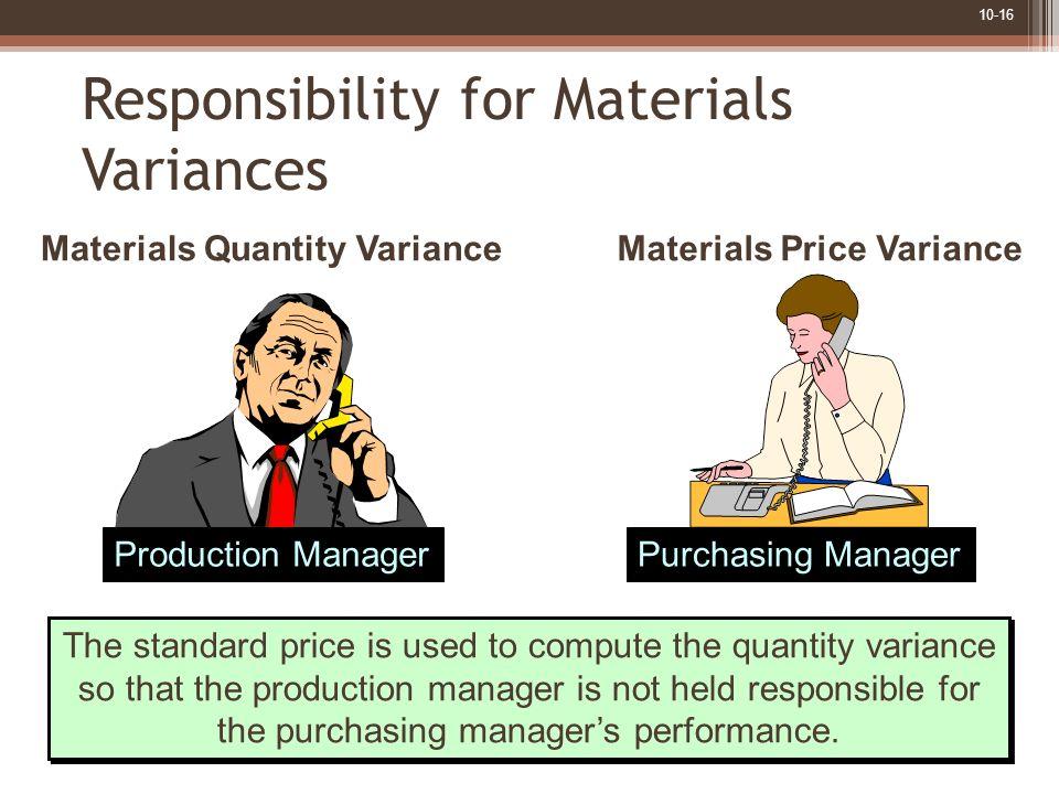 Materials Quantity Variance Materials Price Variance
