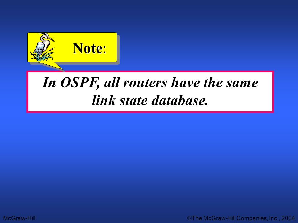 In OSPF, all routers have the same link state database.