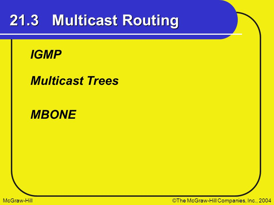 21.3 Multicast Routing IGMP Multicast Trees MBONE