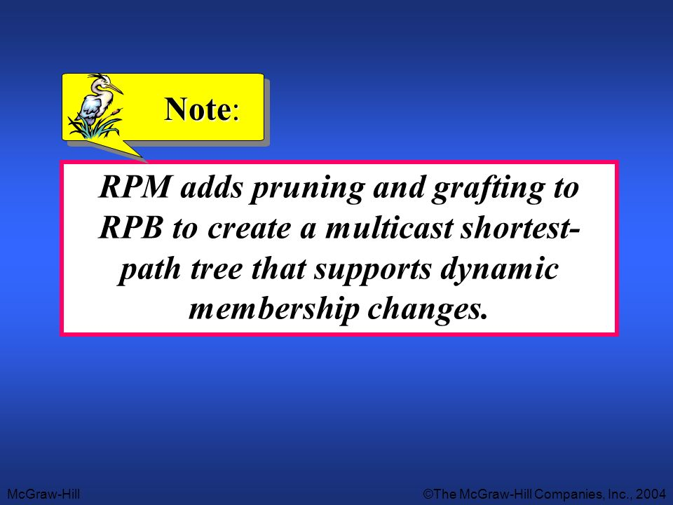 Note: RPM adds pruning and grafting to RPB to create a multicast shortest- path tree that supports dynamic membership changes.