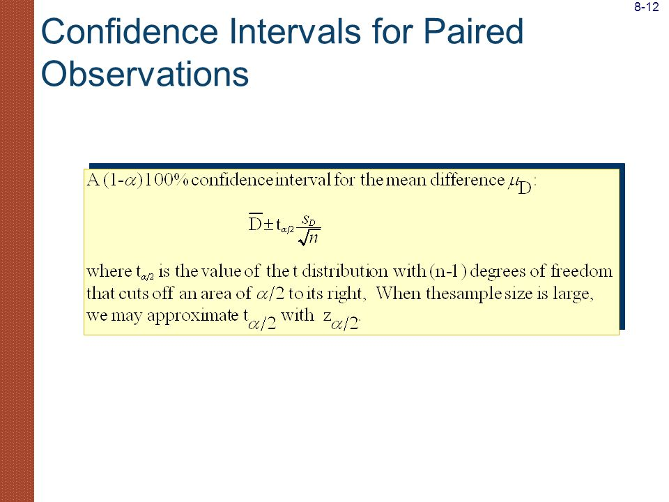 Confidence Intervals for Paired Observations