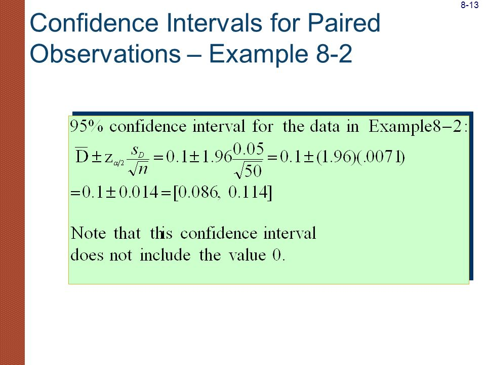 Confidence Intervals for Paired Observations – Example 8-2