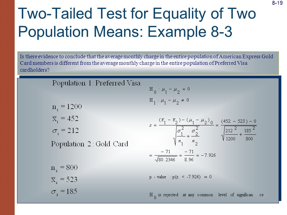 Two-Tailed Test for Equality of Two Population Means: Example 8-3