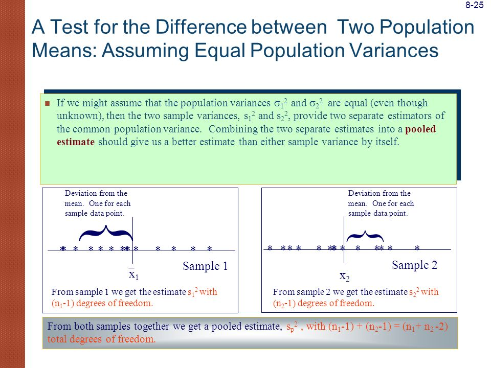 8-25 A Test for the Difference between Two Population Means: Assuming Equal Population Variances.