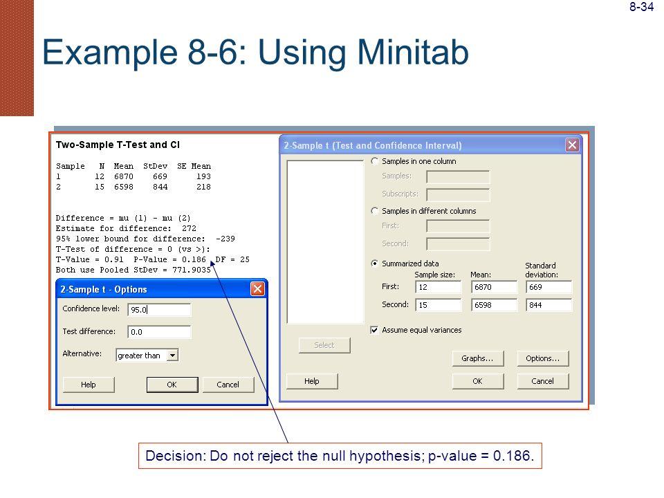 Example 8-6: Using Minitab