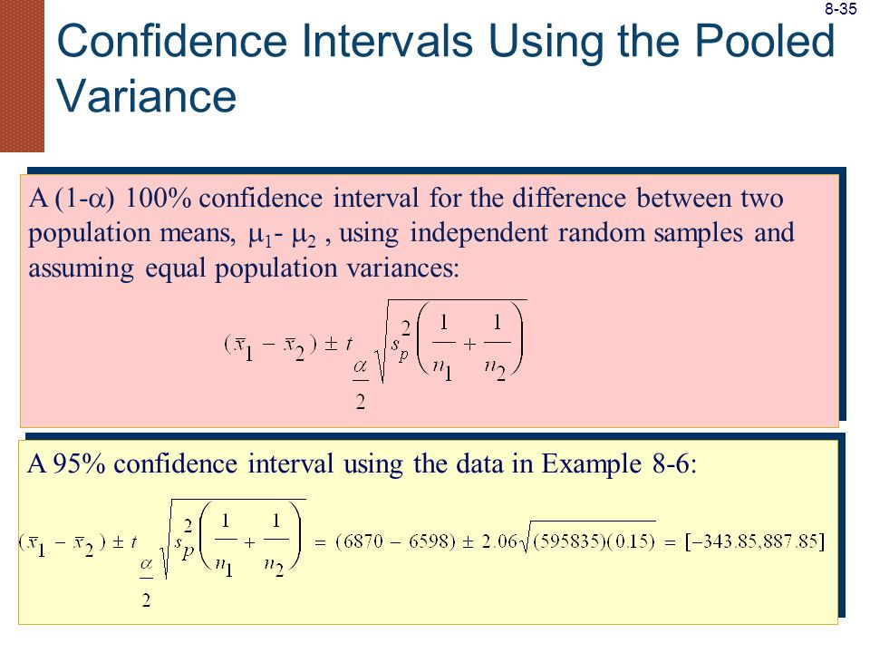 Confidence Intervals Using the Pooled Variance