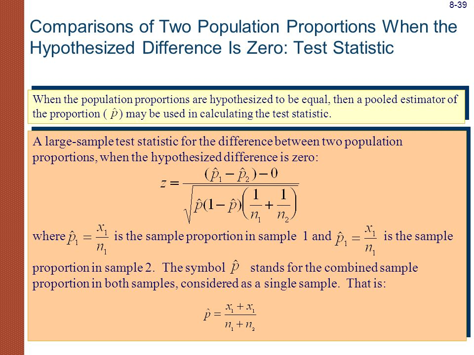 8-39 Comparisons of Two Population Proportions When the Hypothesized Difference Is Zero: Test Statistic.