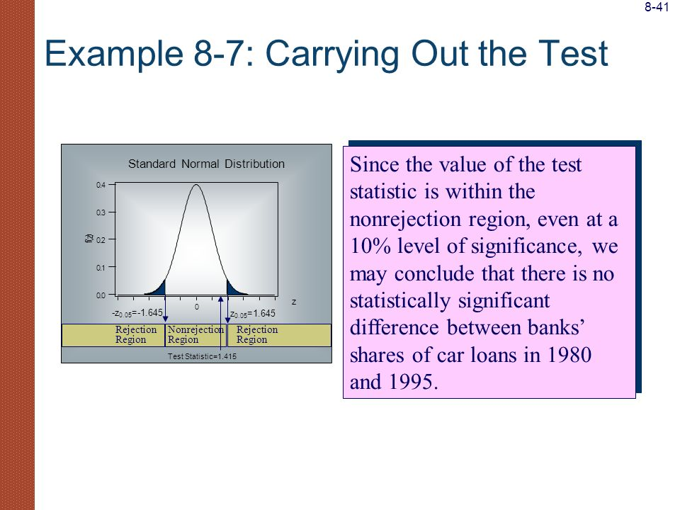 Example 8-7: Carrying Out the Test