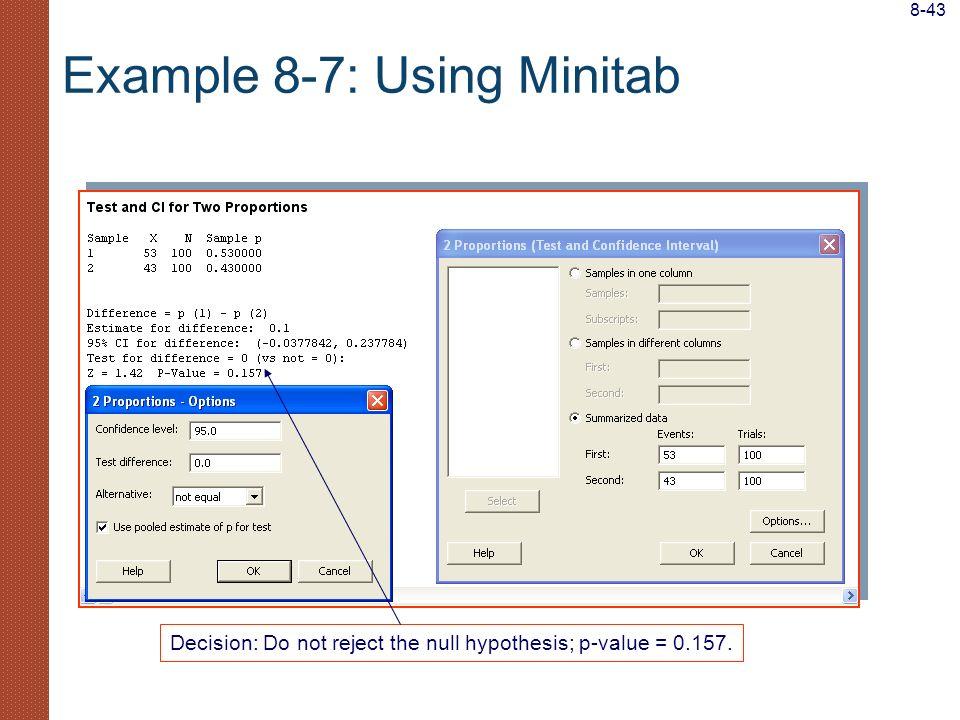 Example 8-7: Using Minitab