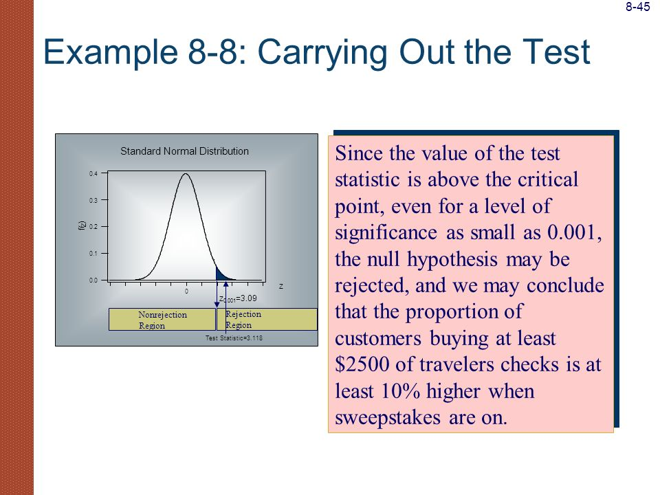 Example 8-8: Carrying Out the Test