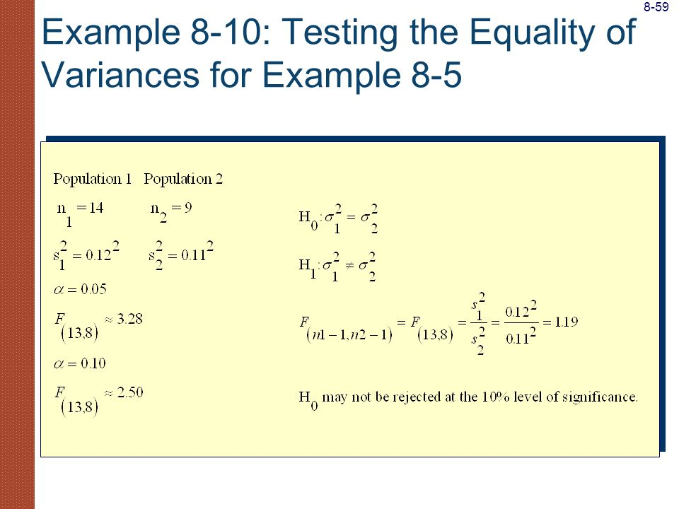 Example 8-10: Testing the Equality of Variances for Example 8-5