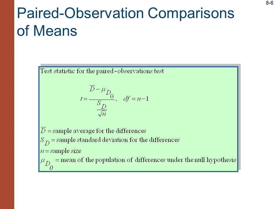 Paired-Observation Comparisons of Means