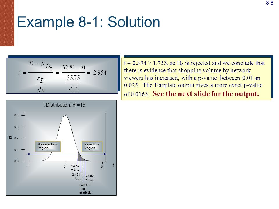 8-8 Example 8-1: Solution. 2.131. = t0.025. 2.602. = t0.01. 1.753. = t0.05. 2.354= test. statistic.