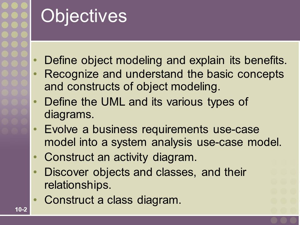 Objectives Define object modeling and explain its benefits.