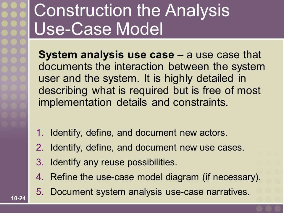 Construction the Analysis Use-Case Model