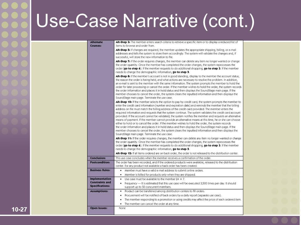 Use-Case Narrative (cont.)