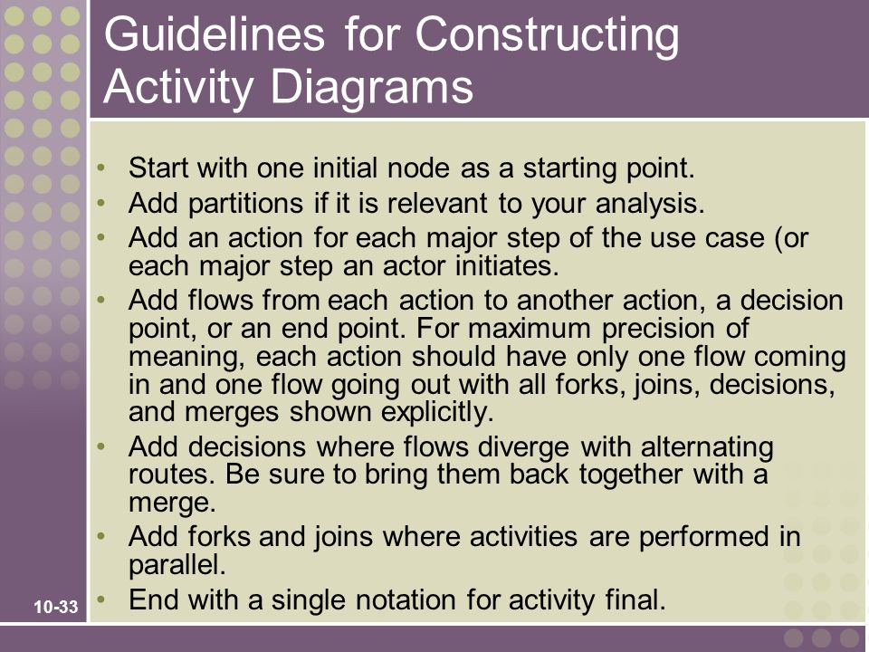 Guidelines for Constructing Activity Diagrams