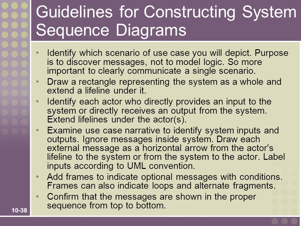 Guidelines for Constructing System Sequence Diagrams