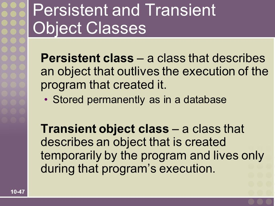 Persistent and Transient Object Classes