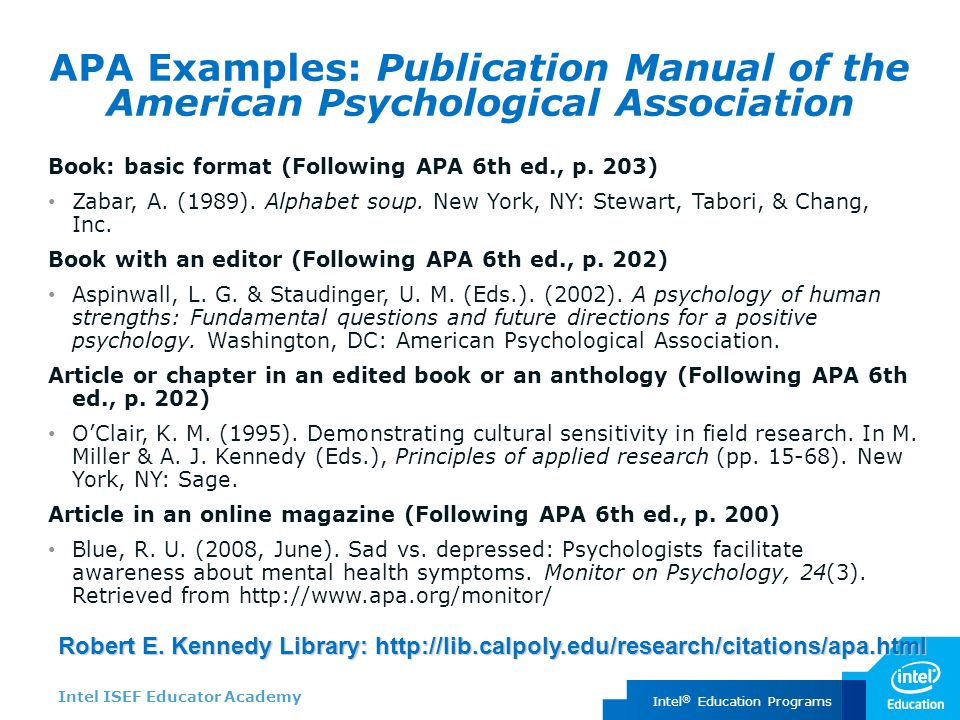 an introduction to the publication manual of the american psychological association The publication manual of the american psychological association (5th ed, 2001) provides a comprehensive reference guide to writing using apa style, organization.
