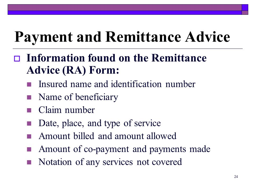 Payment and Remittance Advice