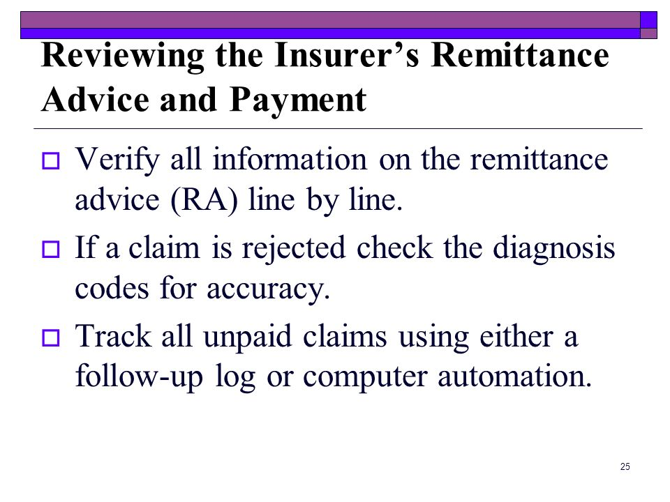 Reviewing the Insurer's Remittance Advice and Payment
