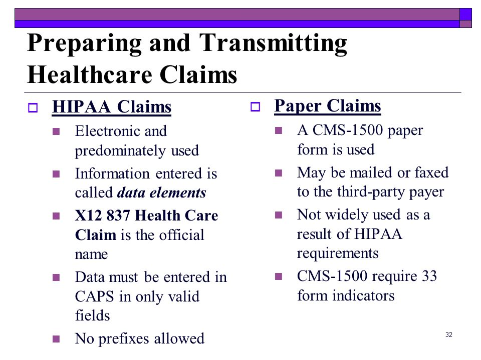 Preparing and Transmitting Healthcare Claims