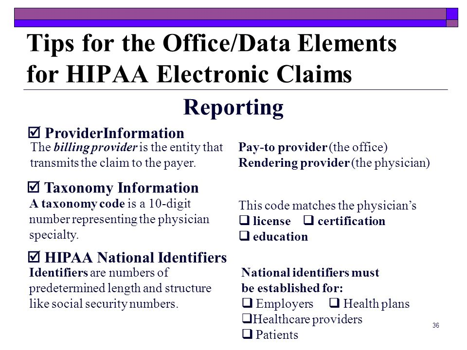 Tips for the Office/Data Elements for HIPAA Electronic Claims