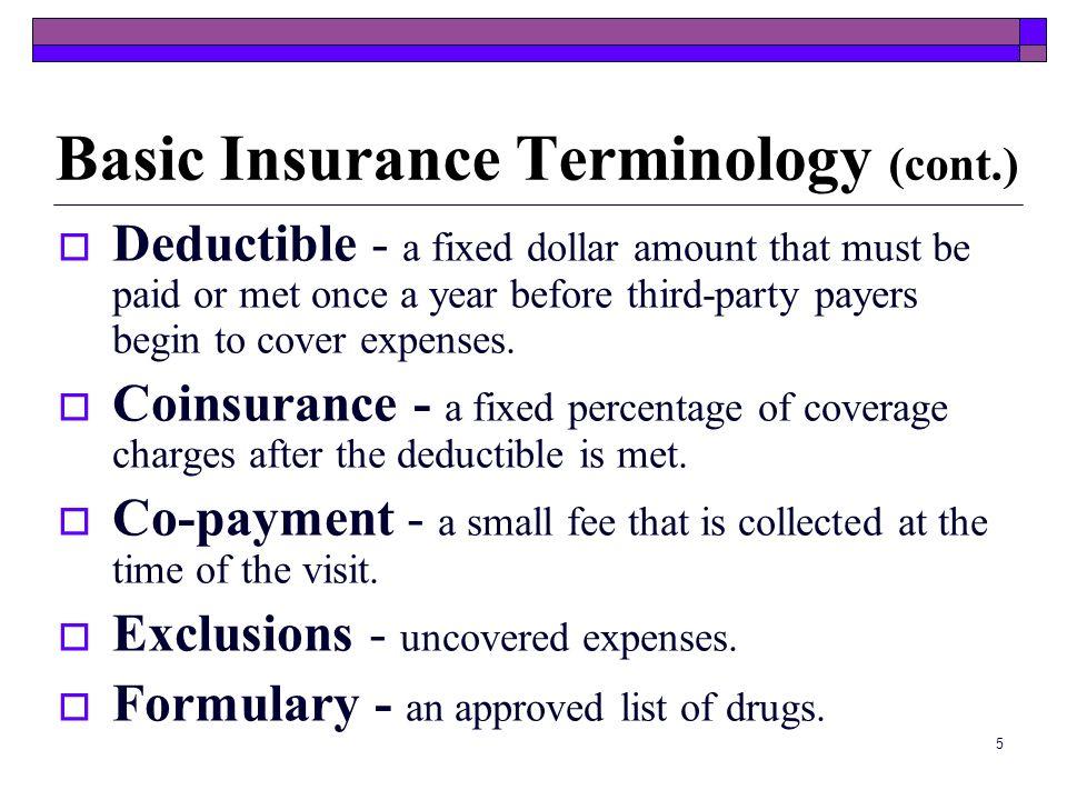 Basic Insurance Terminology (cont.)