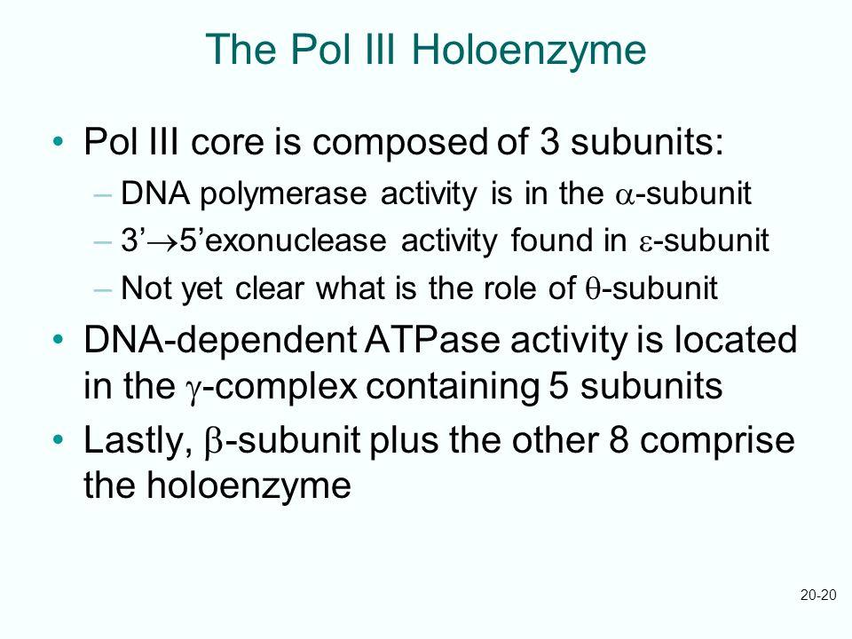 The Pol III Holoenzyme Pol III core is composed of 3 subunits: