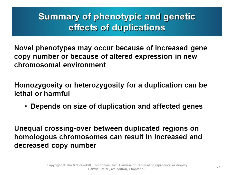 Summary of phenotypic and genetic effects of duplications