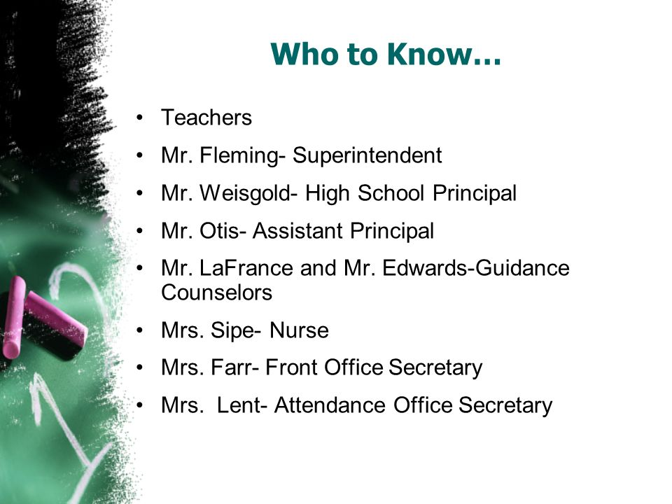 Who to Know… Teachers Mr. Fleming- Superintendent