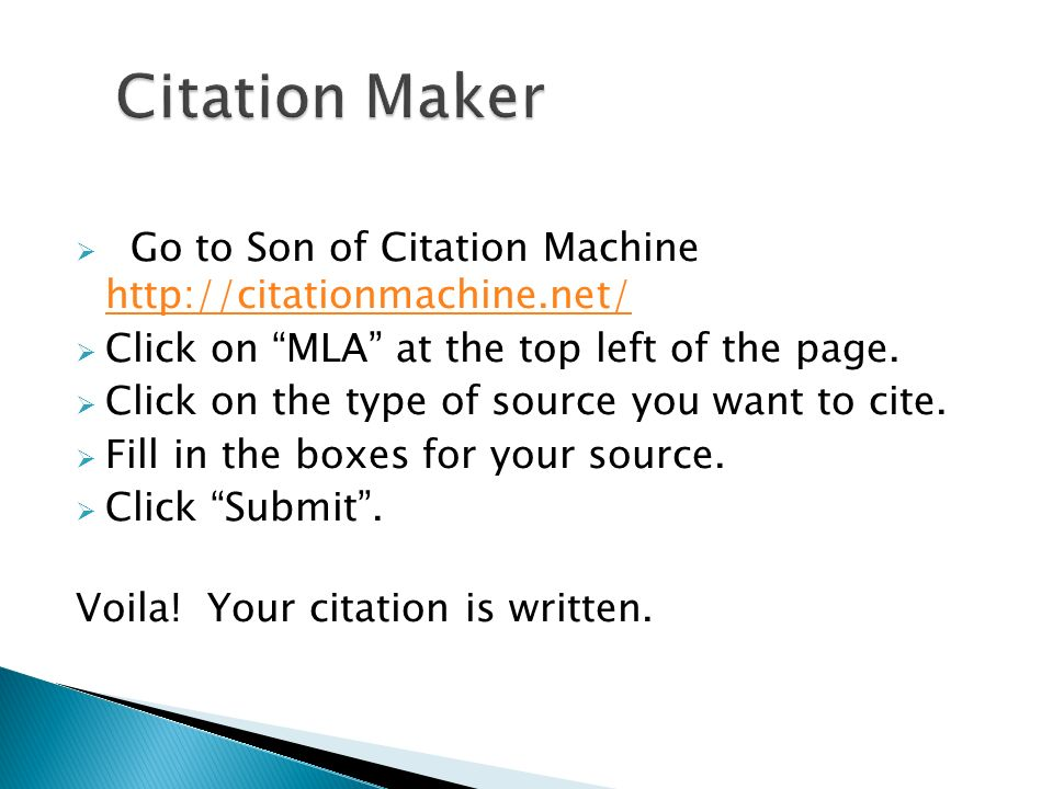 son of citation machine mla format Mla format learning resources   landmarks son of a citation machine  you enter you information into the text boxes and the machine creates the citation for.