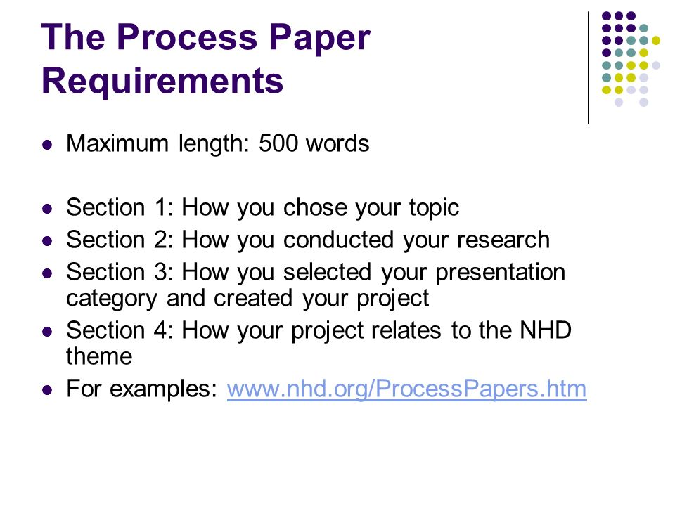 nhd research paper requirements