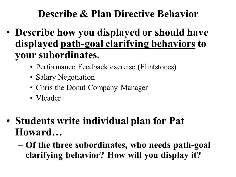 Describe & Plan Directive Behavior