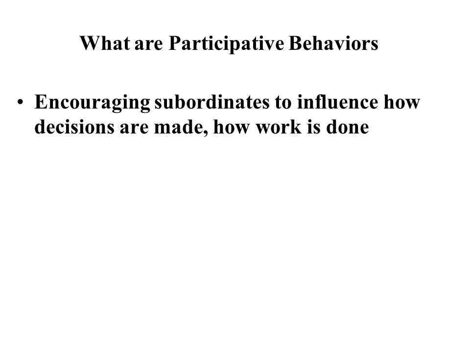 What are Participative Behaviors