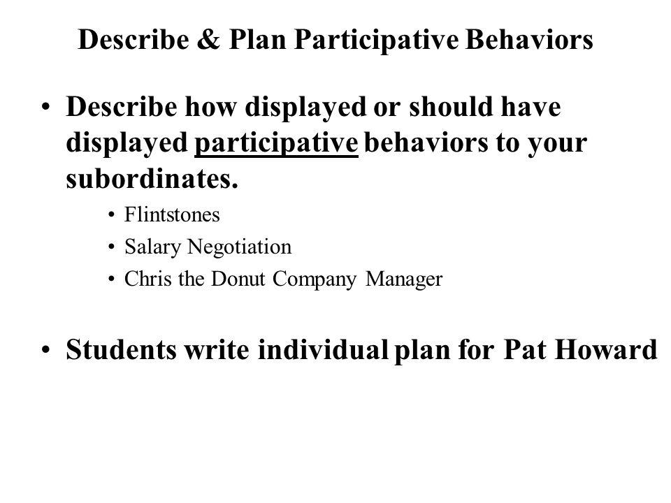 Describe & Plan Participative Behaviors