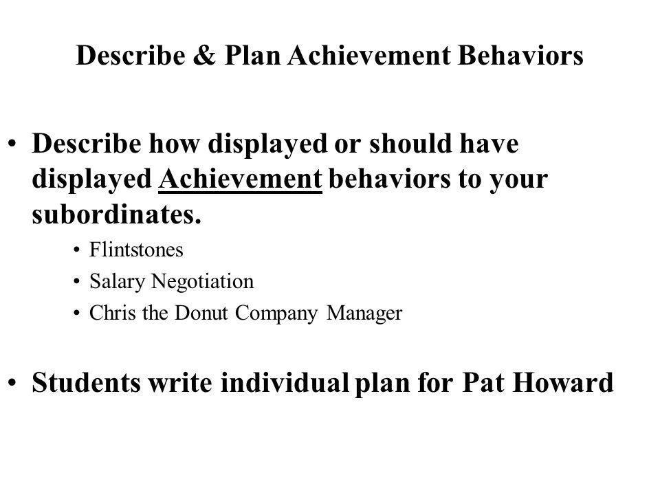 Describe & Plan Achievement Behaviors