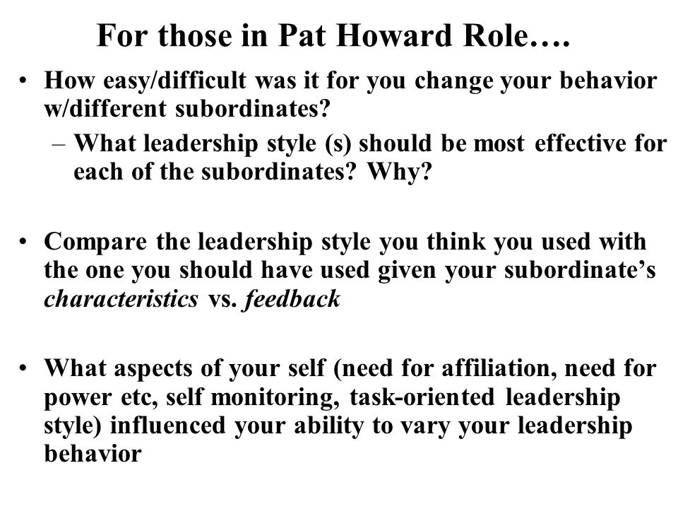 For those in Pat Howard Role….